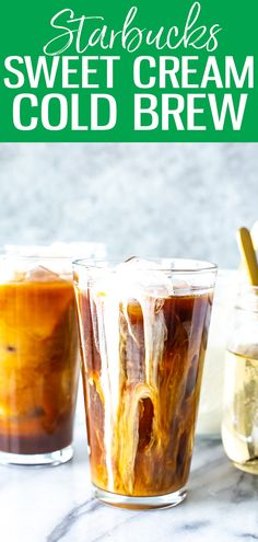 This Vanilla Sweet Cream Cold Brew is just like the version at Starbucks - it's so creamy and refreshing, and the cold brew coffee can be made easily at home! #starbucks #vanillasweetcream #coldbrew Cold Brew Coffee Recipe Starbucks, Starbucks Sweet Cream, Starbucks Vanilla, Making Cold Brew Coffee, Healthy Starbucks, Coffee Drink Recipes, Starbucks Recipes, Starbucks Drinks, Cold Brew Iced Coffee