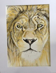 Magestic Lion Face watercolour by Mscraftycreatures on Etsy