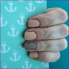 This mani is a combination of 'Just Peachy' and 'Take Aim.' To browse or shop, you can visit my website: http://marydalke.jamberrynails.net/ To request a free sample or if you'd like to become a Jamberry Nails Independent Consultant like I am, send me a message.