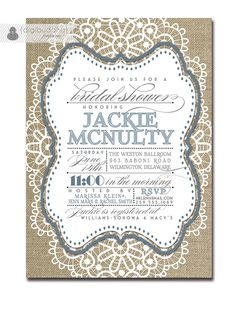 Lace Bridal Shower Invitation Linen Burlap Slate Blue Gray Vintage Rustic Wedding Pastel FREE PRIORITY SHIPPING or DiY Printable - Jackie by digibuddhaPaperie on Etsy https://www.etsy.com/listing/155116419/lace-bridal-shower-invitation-linen