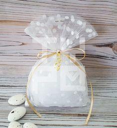 Μπομπονιέρα Γάμου πουγκί λευκό πουά | Typo
