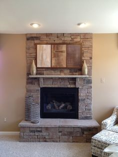 stone fireplace with mounted tv - Google Search