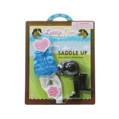 Outfit Set includes a riding hat, jodphurs, blue padded riding vest and riding boots.
