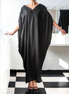 BLACK Maxi Dress Kaftan Abaya Plus size by cherryblossomsdress