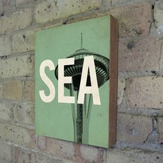 Seattle Wood Block Art Print