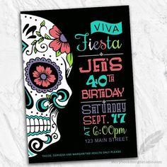 Diy Digital Sugar Skull Invitation Dia De Los Muertos Personalized