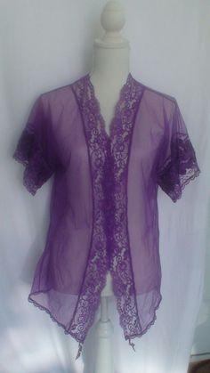 Sexy Purple Sheer Retro Bed Jacket Size S Measurements Provided #Unbranded…