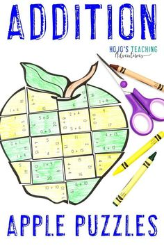 These ADDITION Apple Math Activities for 1st, 2nd, or 3rd grade are great for centers, stations, early or fast finishers, review, test prep, back to school, a Johnny Appleseed unit, or anytime during the fall months. Click through now to learn more, grab a FREE printable, have some fun, work on your fine motor cutting skills, and more. #HoJoTeaches #AppleMathCenters #AdditionPuzzle