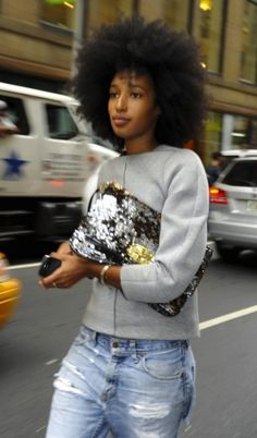 Dude, it is totally the hair that nails this! Super casual mixed with statements - hair, sequins. Could rock the same thing with a huge ridiculous necklace or earrings.