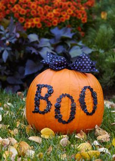 Buttoned Up Pumpkin  Give a pretty pumpkin a ghostly message with a few on-hand supplies. Paint the pumpkin stem using black crafts paint; let dry. Spell a spooky word with black buttons, adhering them to the pumpkin with glue. Tie black wire-edged ribbon into a bow around the pumpkin stem to finish.  Boo-ti-ful!!