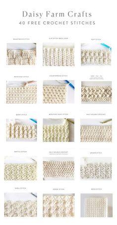 40 free crochet stitches from Daisy Farm Crafts knitted ideas . - 40 free crochet stitches from Daisy Farm Crafts knitted ideas 40 free croc - Crochet Stitches Free, Crochet Diy, Crochet Motifs, Crochet Amigurumi, Crochet Diagram, Tunisian Crochet, Crochet Patterns, Crochet Crafts, Crochet Ripple