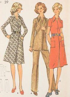 70s Vintage Butterick 6466 Pattern Shirtdress Top Pants Size 16 ½ Bust 39 Uncut #Butterick
