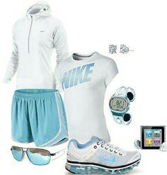 Women's fashion blue white nike outfit