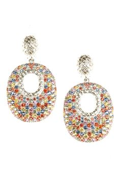 Couture Jewelry Trend: Haute Flash  (Slane's sterling-silver earrings with multicolored pavé sapphires.)