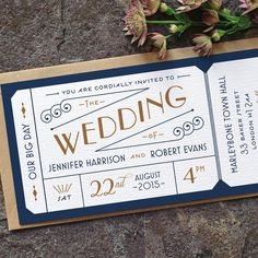 Formal Admission Ticket Wedding Invitation / 'Just the Ticket' Art Deco 1920s Wedding Invite / Navy Blue Gold / Custom Colours / ONE SAMPLE