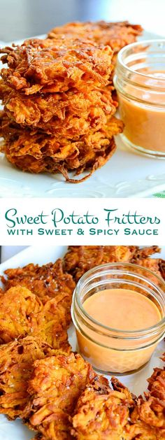 Sweet Potato Fritters with Sweet & Spicy Sauce Lightly seasoned and pan fried these sweet potato fritters are served up with a sweet and spicy sauce. Perfect for tailgating or as an easy side dish. Side Dish Recipes, Vegetable Recipes, Vegetarian Recipes, Cooking Recipes, Healthy Recipes, Sweet Recipes, Vegan Sweet Potato Recipes, Paleo Side Dishes, Curry Recipes