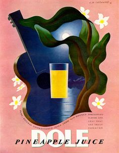 Dole Hawaiian Pineapple Juice 1938 - www.MadMenArt.com | Through this graphic art, we witness economic upturns, encounter delighted people and catch a glimpse inside fully stocked refrigerators. #Advertisement #Goods #Vintage #Ads #VintageAds #VintageGoods