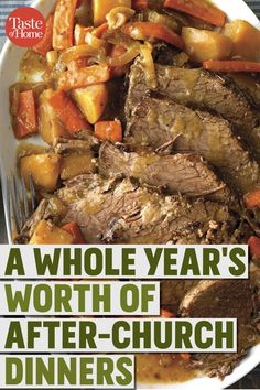 A Year's Worth of After-Church Dinners - Cooking Recipes Sunday Dinner Recipes, Potluck Recipes, Beef Recipes, Cooking Recipes, Healthy Recipes, Sunday Dinners, Sunday Dinner Main Dishes, Sunday Dinner For A Crowd, Southern Sunday Dinner Ideas