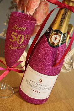 """""""Happy Birthday"""" Champagne Flute with LARGE Bottle of Wine, Cava, Prosecco or Champagne"""