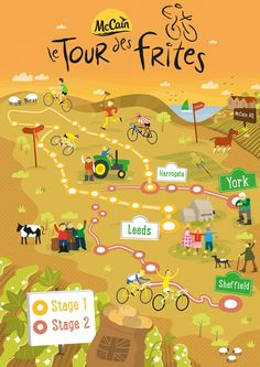 Illustrated map of Tour de Yorkshire - Tom Woolley