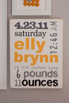 baby info wall art - diy