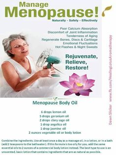 Young Living Essential Oils: Menopause Education Research ~ You can duplicate the study's blend by mixing it as follows: 40ml almond oil, 10ml evening primrose oil, 16 drops Lavender, 8 drops Geranium, 4 drops Rose, 4 drops Rosemary.