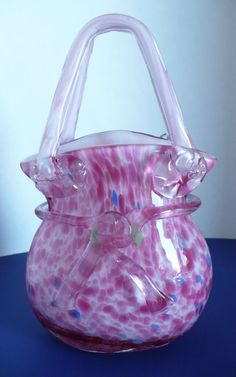 Murano Hand Blown Glass Pink Purse Handbag Vase w/ Glass Bow & Colorful Accents