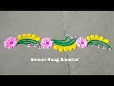 Rangoli is an art form, originating in the Indian subcontinent, in which patterns are created on the floor or the ground using materials such as colored rice. Easy Rangoli Designs Videos, Rangoli Side Designs, Rangoli Designs Latest, Simple Rangoli Designs Images, Rangoli Borders, Free Hand Rangoli Design, Rangoli Patterns, Small Rangoli Design, Rangoli Ideas