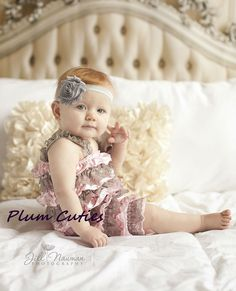 Baby Lace Romper  Shabby Chic  Romper with Headband  by PlumCuties, $19.95