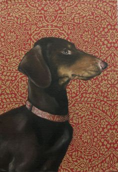 Noble+Brown+and+Black+Dachshund+Dog+With+door+ClairHartmannFineArt,+$93.00