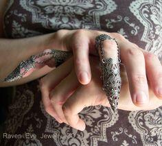 BISHOP Dagon Full Finger Armor Ring Gothic Flourish Filigree TWO ring set. $58.00, via Etsy.