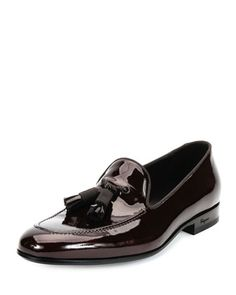 Luxury Patent Leather Tassel Loafer, Brown by Salvatore Ferragamo at Neiman Marcus.