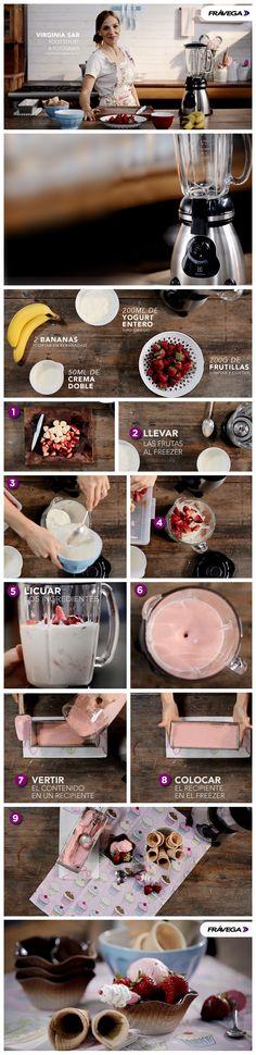 #HaceloSimple con Frávega: Seguí paso a paso esta receta de la mano de Virginia Sar y prepará un exquisito helado de frutilla. ¡Es super simple!
