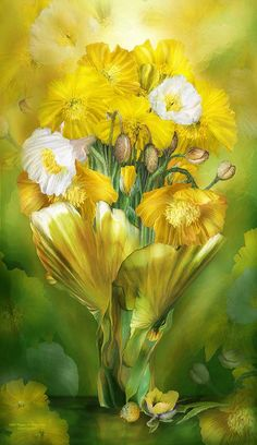 Yellow Poppies In poppy Vase By Carol Cavalaris 	 Yellow Poppies Your bright full blooms A glowing symbol of abundance and success And for those who suffer a broken hert Your beauty is a loving warm caress.  Yellow Poppies prose by Carol Cavalaris ©