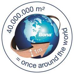 """De foto: wat denk je wat we met het aantal m2 bedoelen?  Nou, ons hoofdkantoor heeft uitgerekend wat Bona wereldwijd verkocht heeft aan Bona parketlijmen en dan komen wij uit op 40.000.000 m2 en dit is dan een 1 meter breed pad 1x om de evenaar……….. Een """"wauw""""-gevoel"""