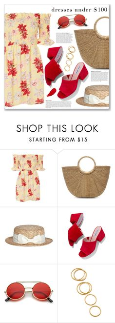 """Under $100: Summer Dresses"" by myduza-and-koteczka ❤ liked on Polyvore featuring Topshop, Anja, Steve Madden, ZeroUV, Gorjana and Rodin"