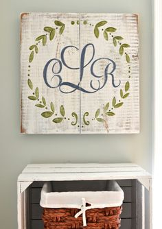 Monogram Wreath Wood Sign
