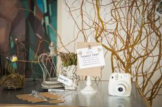 Camera Guest Book ideas - Whimsical Branches & Paper DIY Wedding Inspiration|Photographer:  IJ Photo
