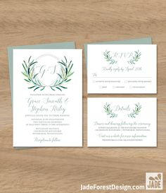 Greenery Wedding Invitation Set / Eucalyptus Crest / Initial Monogram Crest, Eucalyptus Leaves, Olive▷ Printable File {or} Printed & Shipped by JadeForestDesign on Etsy