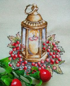 "Cross stitch design ""Lantern with berries"" Designer – Zamorina Alexandra Artist – Inga Izmailova The size of the embroidery: crosses (for canvas aida 14 Cross Designs, Cross Stitch Designs, Cross Stitch Patterns, Hand Embroidery Designs, Cross Stitch Embroidery, Embroidery Patterns, Cute Cross Stitch, Christmas Cross, Cross Stitching"