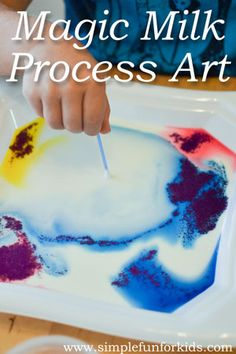 Art and Science for Kids: The basic magic milk experiment turned process art!