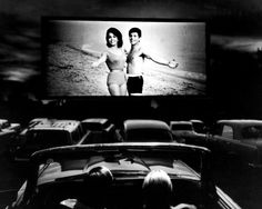 A scene from Beach Blanket Bingo shown at a drive-in movie theater in Florida, 1965.
