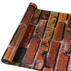 UQ Papier peint Trompe l'oeil 45cmx10M Brique Rouge vintage 3D Sticker mural autocollant Amovible Décoration murale: Amazon.fr: Cuisine & Maison