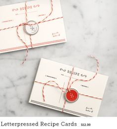 Letterpressed Recipe Cards / Love and Lemons