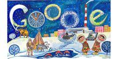 """Дудл для Google: """"Мой город. Моя страна. 30 лучших работ юных художников на тему """"Мой город. Русский медведь теперь тоже с Google. Балашова Анна, Ульяновская область, п. Карсун"""