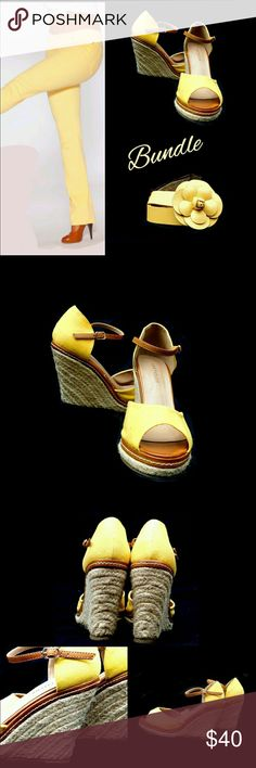 """ANN TAYLOR YELLOW  WEDGES + FREE BELT ANN TAYLOR SANDALS      Manmade Material    Pre-Loved    SZ 7    4"""" Wedge TALBOTS FLOWER BELT 💥FREE💥    Up to 38"""" Adjustable Pls Ask ? If Not Sure. Colors May Not be Exact due to Lighting & Screen If U'd Like Ann Taylor Shoes Wedges"""