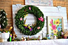 My 1929 Charmer | Spring and Easter Mantel – New Barn Door | http://my1929charmer.com