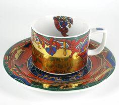 Langenthal Porzellan Kaffeetasse Untertasse Dekor Bopla Schweiz Switzerland