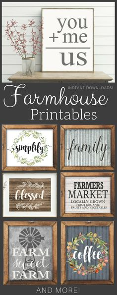 Even Joanna Gaines would approve of these Fixer Upper style prints perfect for a gallery wall or farmhouse kitchen! #farmhouse #printable #ad #gallerywall #artwork