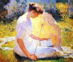 Love the light on the parasol ~ Frank Benson, The Reader, (1910)